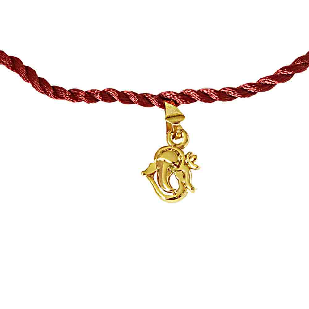 Royal Rakhi Collection-Lord Ganesh Gold Plated Religious Rakhi for Brothers (SNSH10)