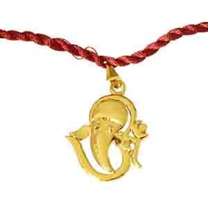 Royal Rakhi Collection-Om Ganesh Gold Plated Religious Rakhi for Brothers (SNSH11)