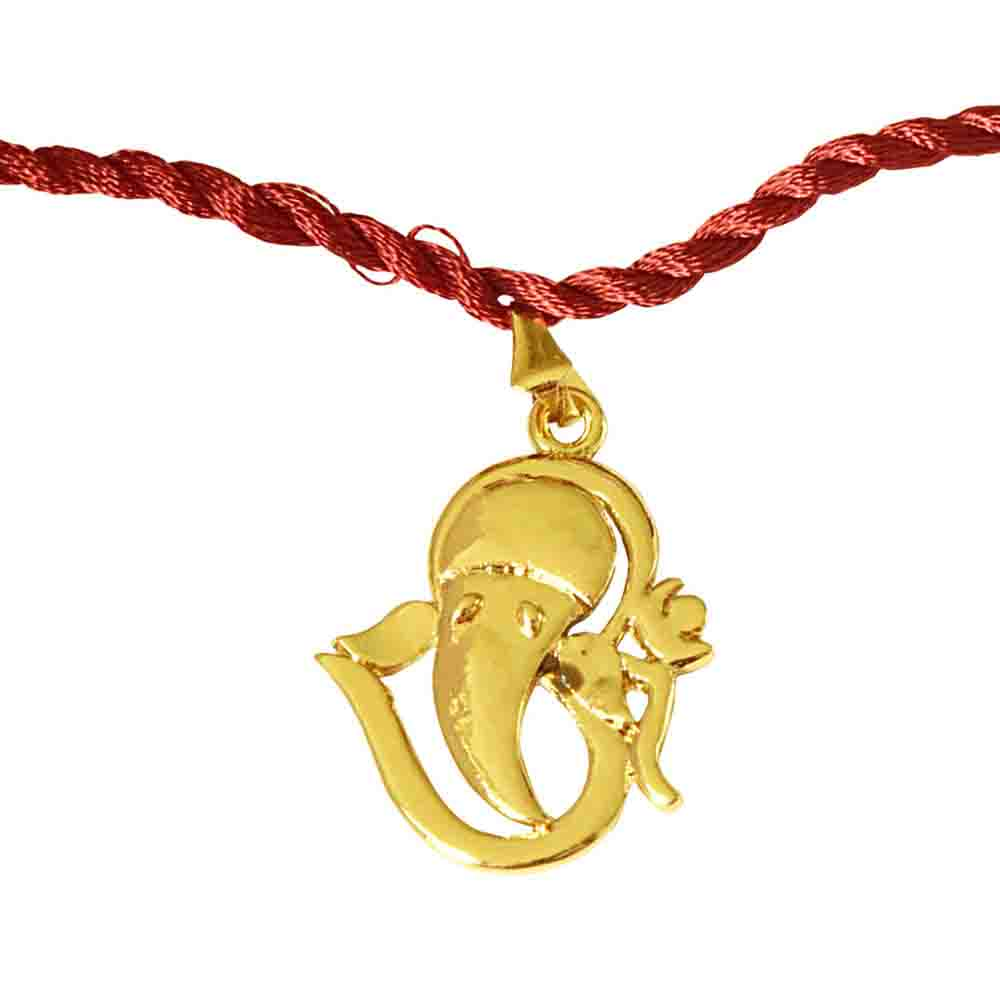 Om Ganesh Gold Plated Religious Rakhi for Brothers (SNSH11)