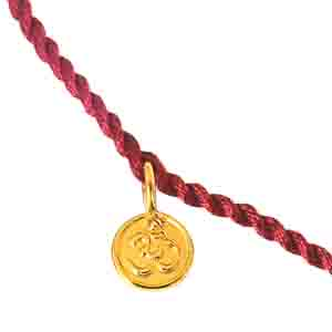 Royal Rakhi Collection-Gold Plated OM Shaped Sterling Silver Rakhi for Brothers SNSR6