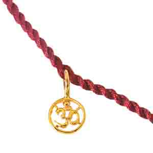 Royal Rakhi Collection-Delicate OM Shaped Gold Plated Sterling Silver Rakhi for Brothers SNSR7