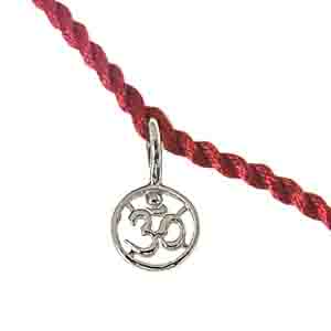Royal Rakhi Collection-Delicate OM Shaped Sterling Silver Rakhi for Brothers SNSR11