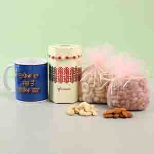Dryfruits & Flowers-Gorgeous Rakhi With Printed Mug Punjabi