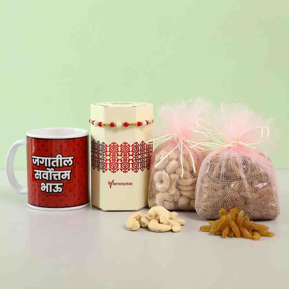 Delightful Rakhi & Dry Fruits Combo With Mug Marathi