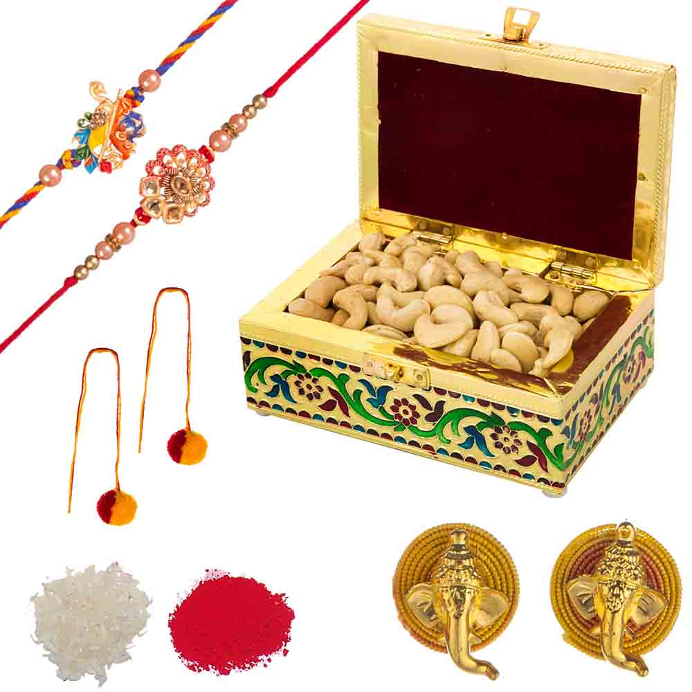 Feastive Celebrations Set of Rakhi with Meenakari Cashewnuts Chest
