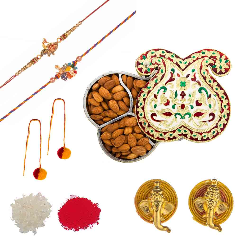 Feastive Celebrations Set of Rakhis with Twin Paisley Meenakari Almond Box