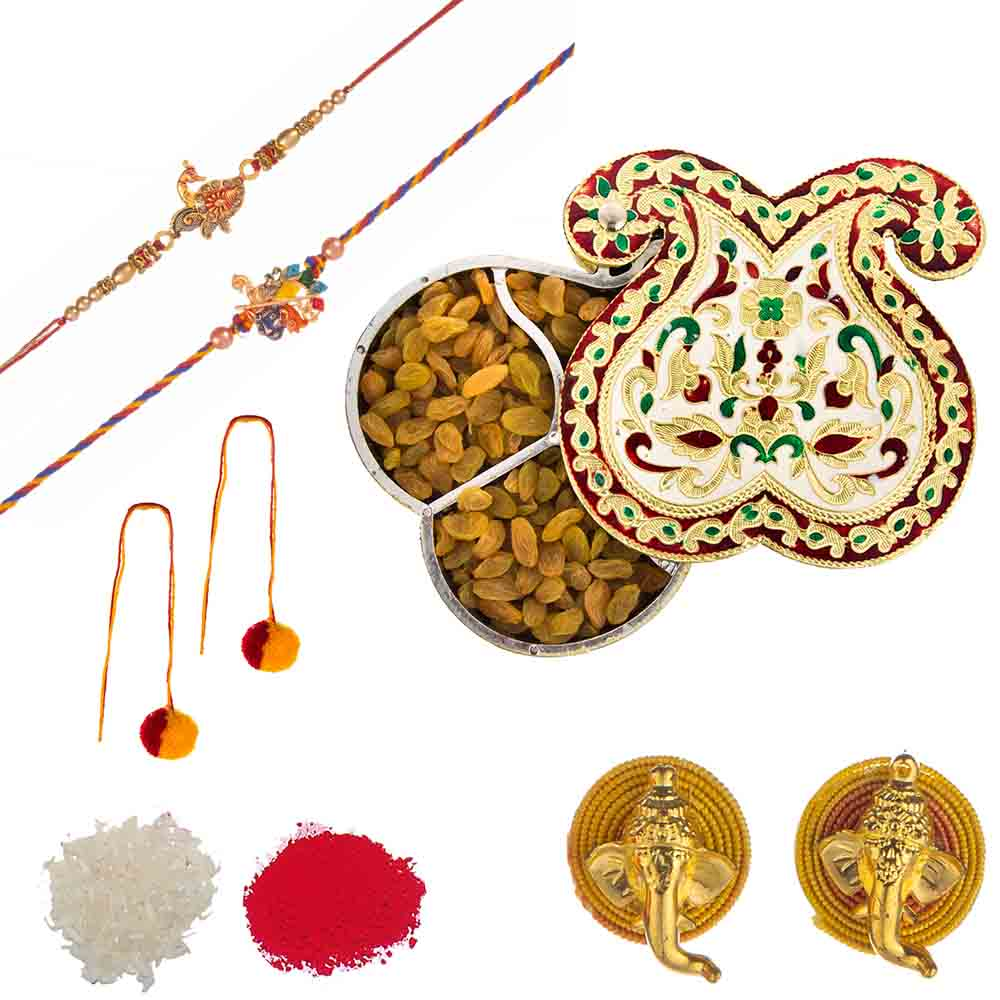 Feastive Celebrations Set of Rakhis with Twin Paisley Meenakari Raisins(Kishmish) Box