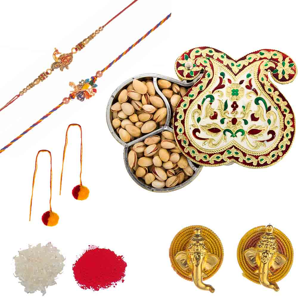 Feastive Celebrations Set of Rakhis with Twin Paisley Meenakari Pistachio Box