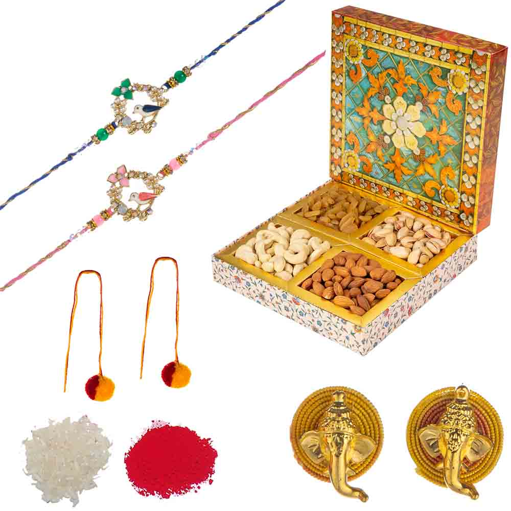 Feastive Celebrations Set of Rakhis with Assorted Dry Fruit Royal Diamond box