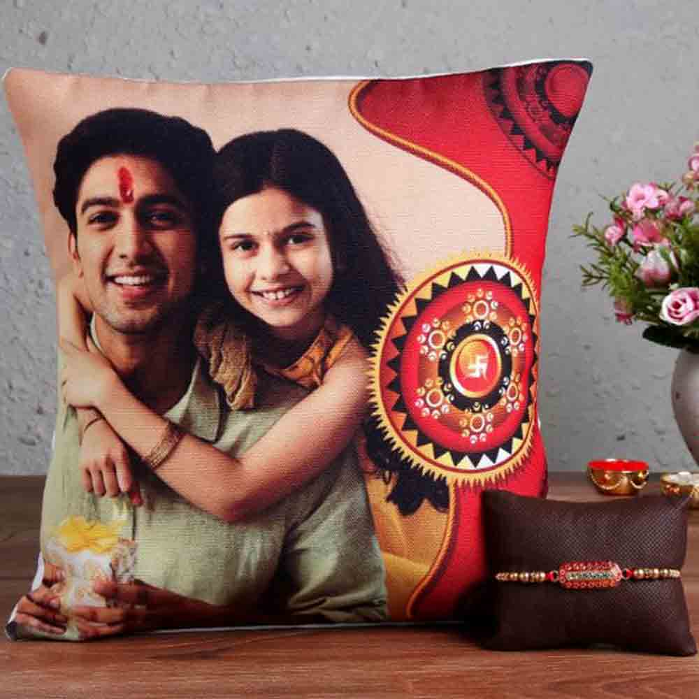 Trendy Rakhi with Photo Cushion