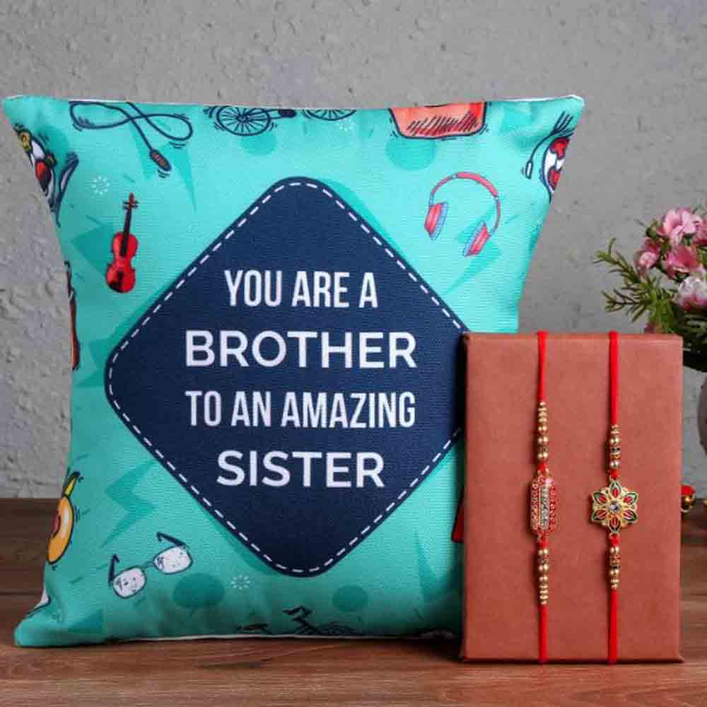 Cushion with Designer Rakhis For Brother