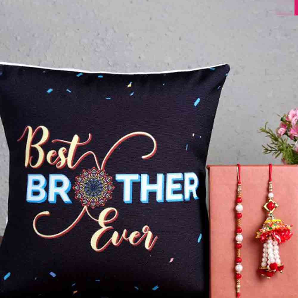 Quirky Cushion with Rakhis For Brother