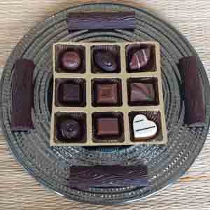 Chocolates & Cookies-Classic Chocolates and Logs Glass Platter