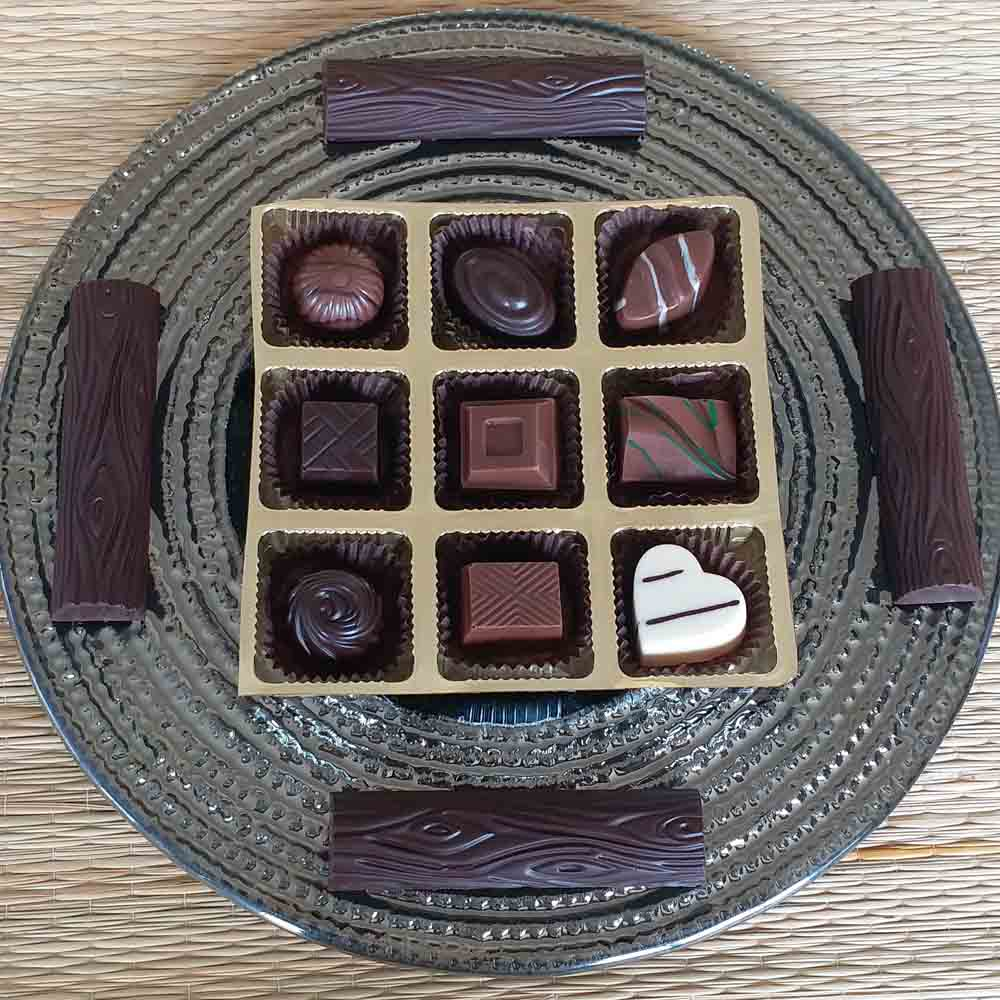 Classic Chocolates and Logs Glass Platter