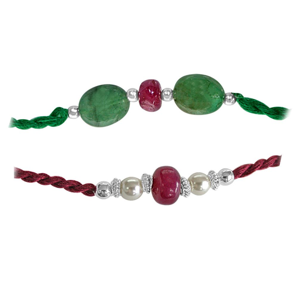 Two Rakhis of Red Ruby and Natural Emerald