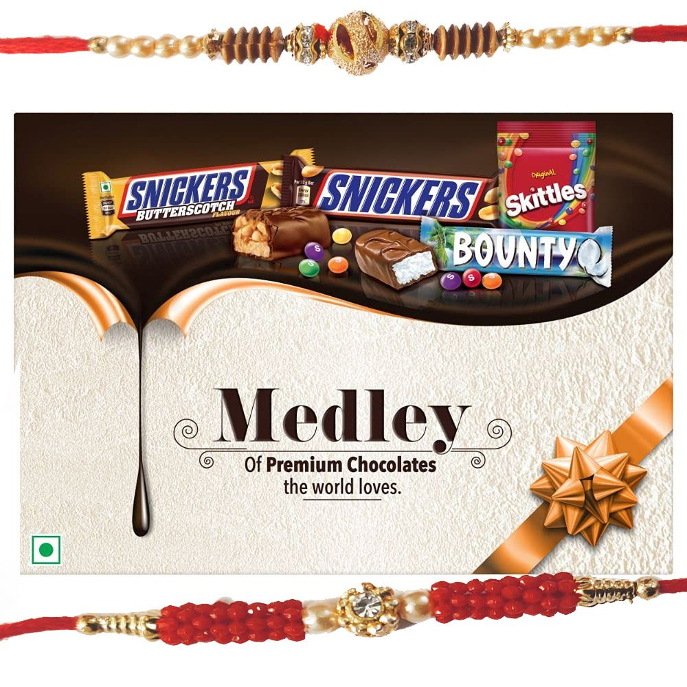 Rakhis with Snickers Medley Assorted Chocolates Gift Pack