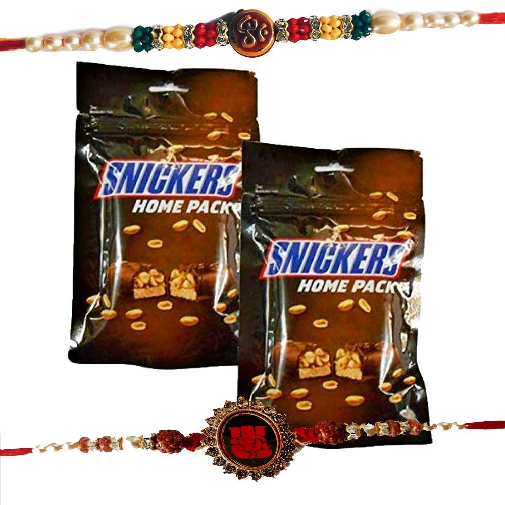 Rakhis with Snickers Chocolates Home Pack of 2