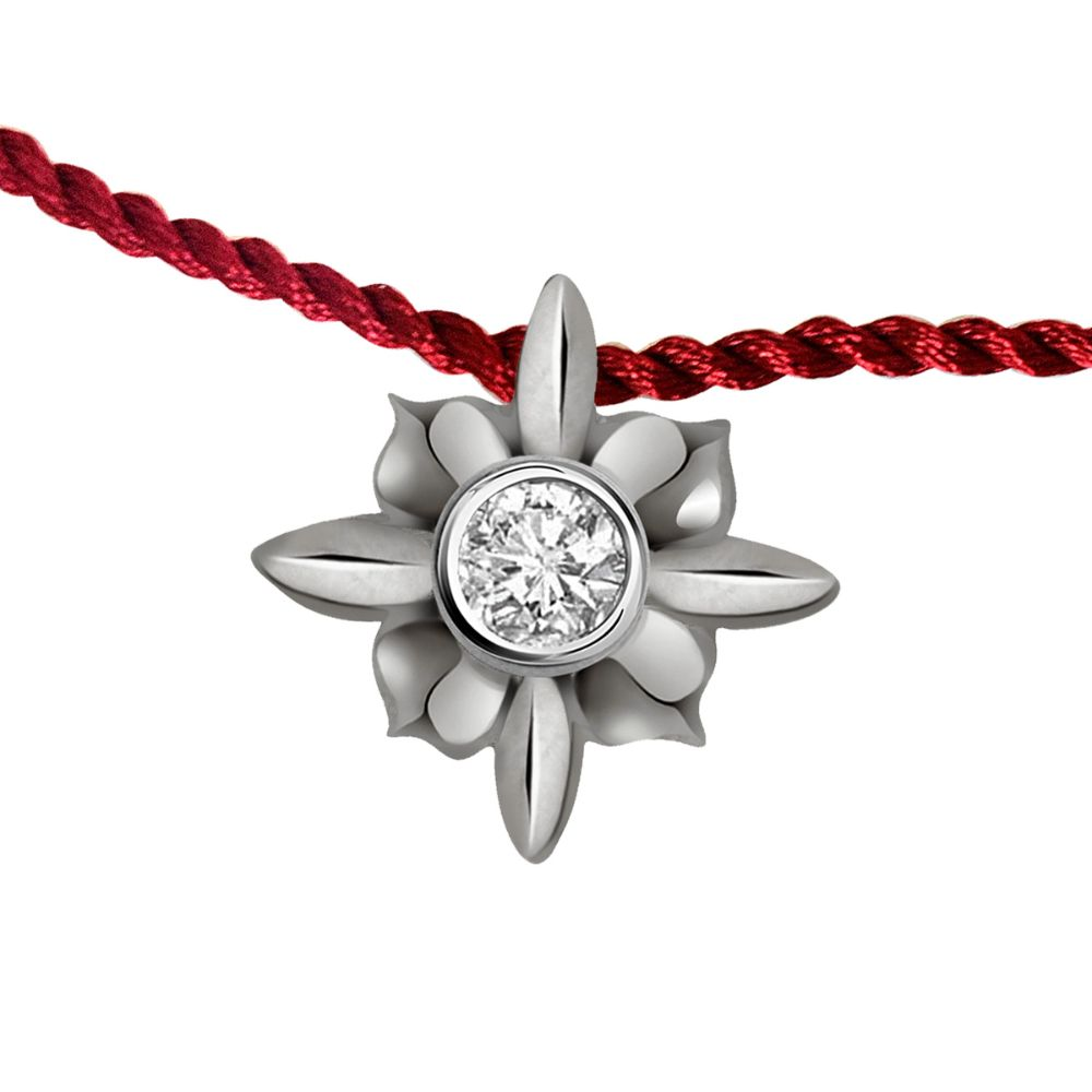 Floral .925 Sterling Silver and Diamond Rakhi