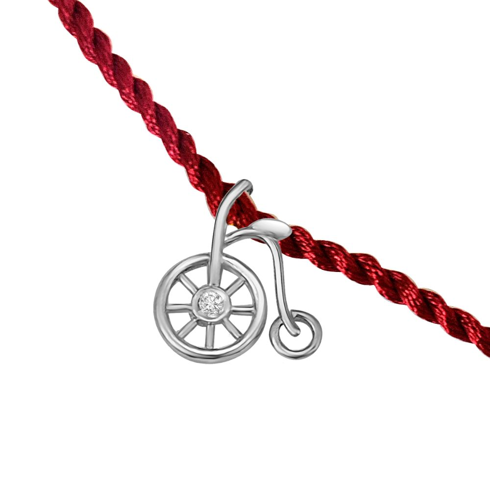 Bicycle Shaped .925 Sterling Silver and Diamond Rakhi