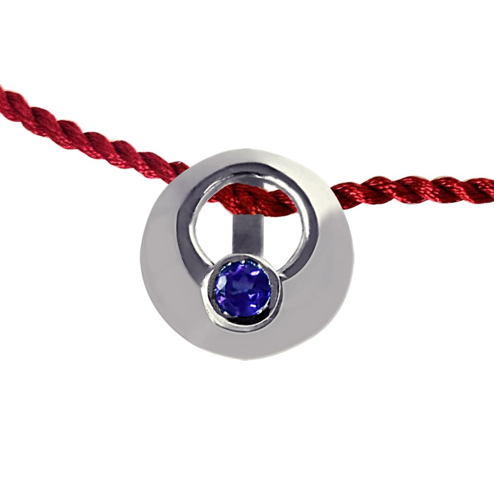 Round Shaped .925 Sterling Silver and Purple Amethyst Rakhi