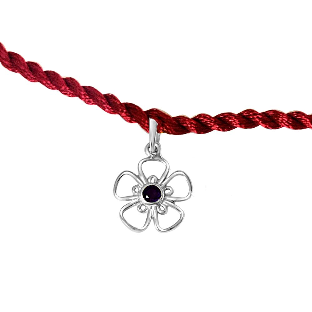 Floral Shaped .925 Sterling Silver and Purple Amethyst Rakhi
