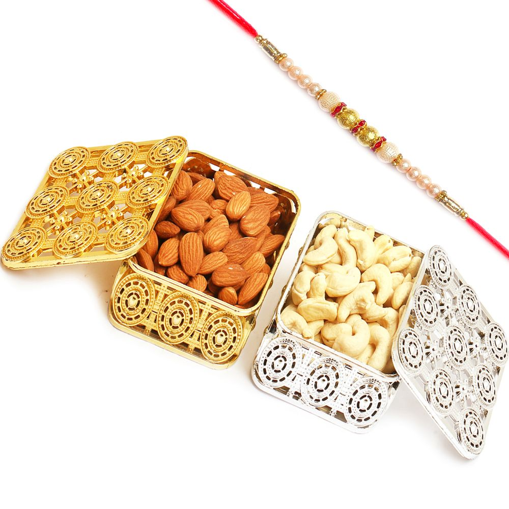 Silver and Gold Almonds and Cashews Boxes with Pearl Rakhi