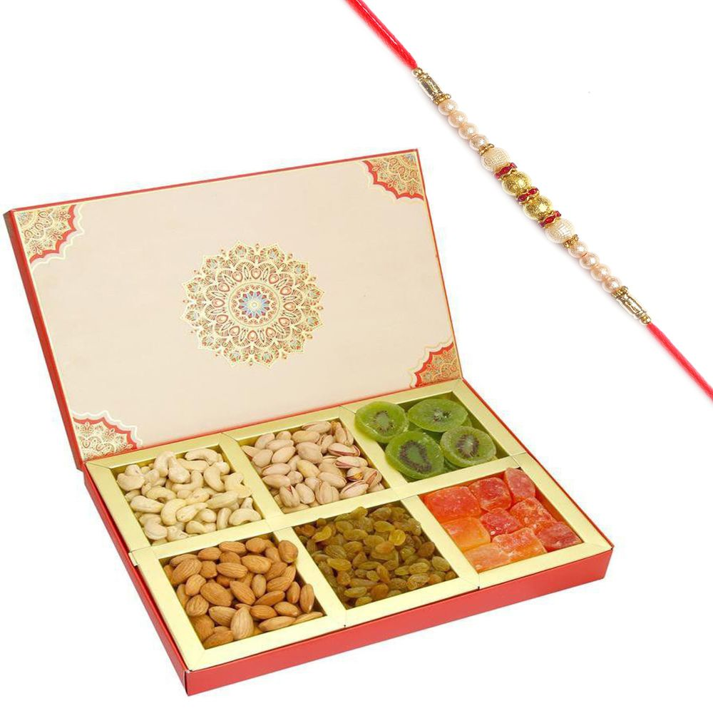 Fusion 6 part Assorted Dryfruit Box with Pearl Rakhi