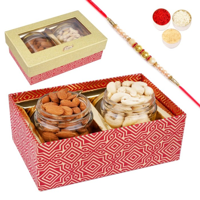 Golden box with 2 Jars of Cashews and Almonds with Pearl Rakhi