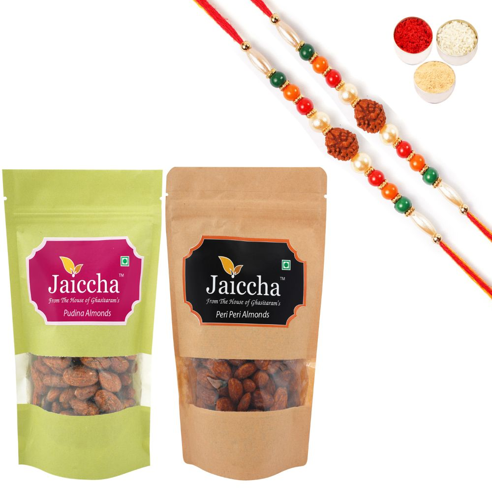 Pack of 2 Peri Peri, Pudina Almonds Pouches small 200 gms With 2 Rudraksh rakhis