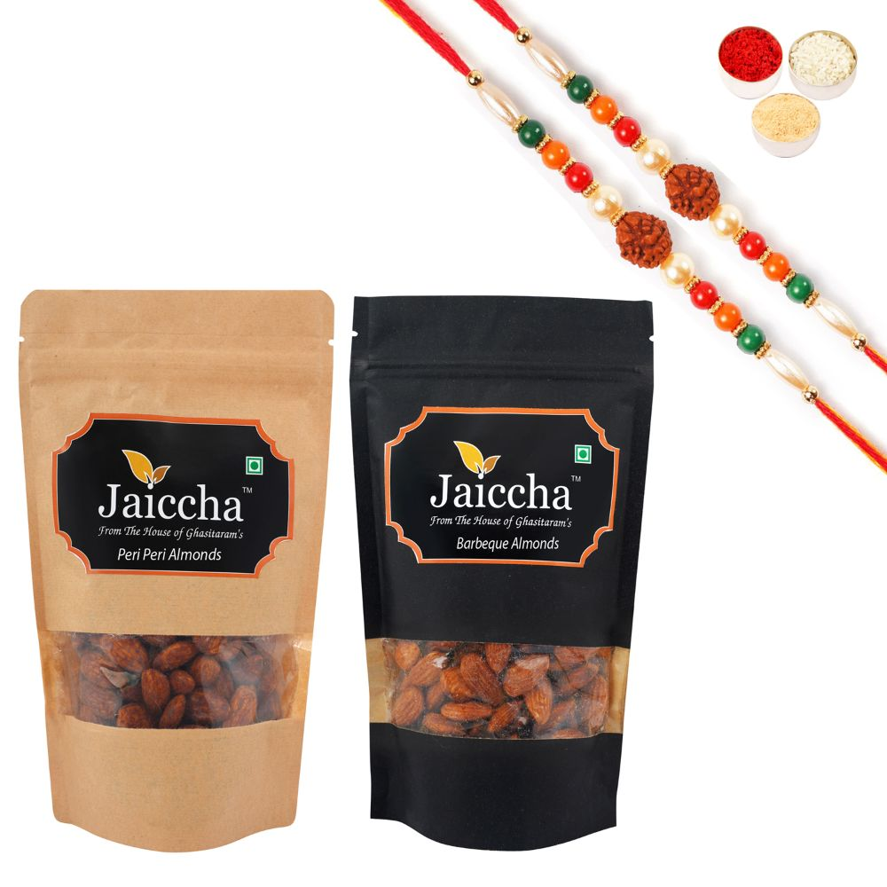 Pack of 2 Peri Peri, Barbeque Almonds Pouches small 200 gms With 2 Rudraksh rakhis