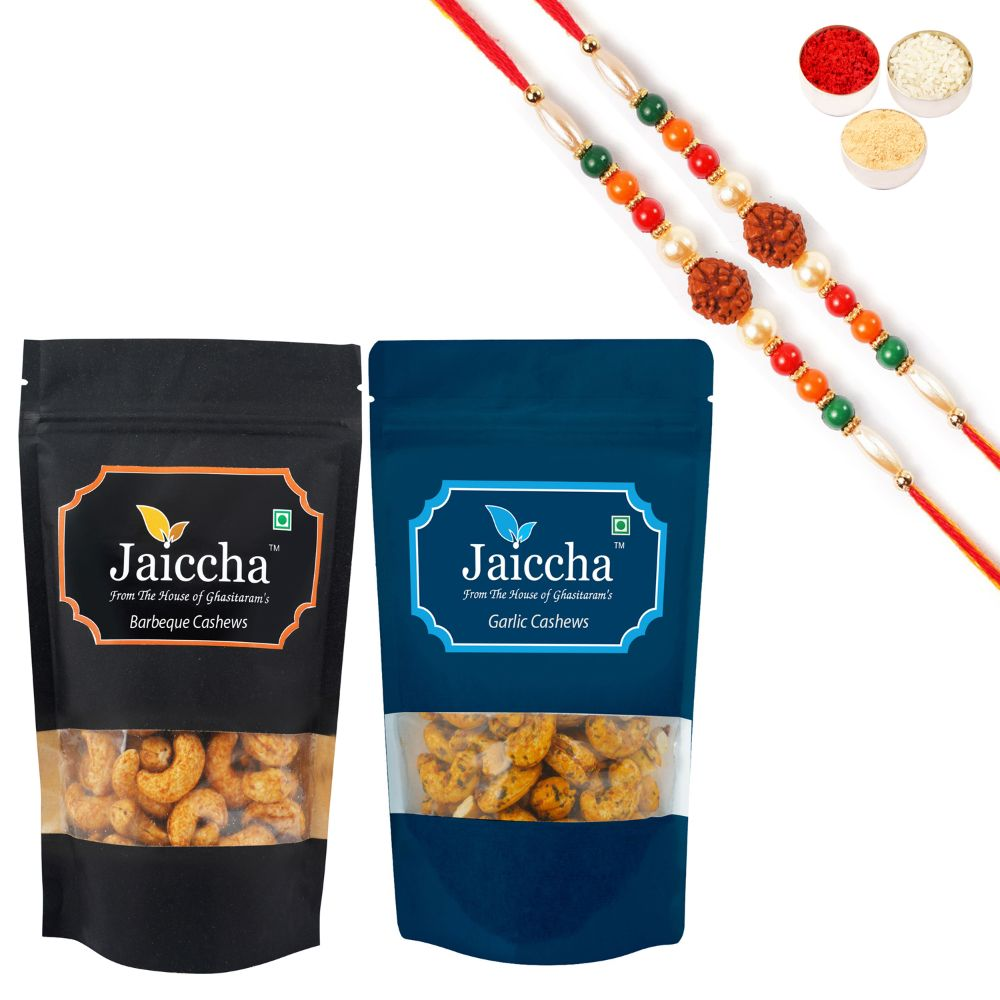Pack of 2 Garlic, Barbeque Cashews Pouches small 200 gms With 2 Rudraksh rakhis