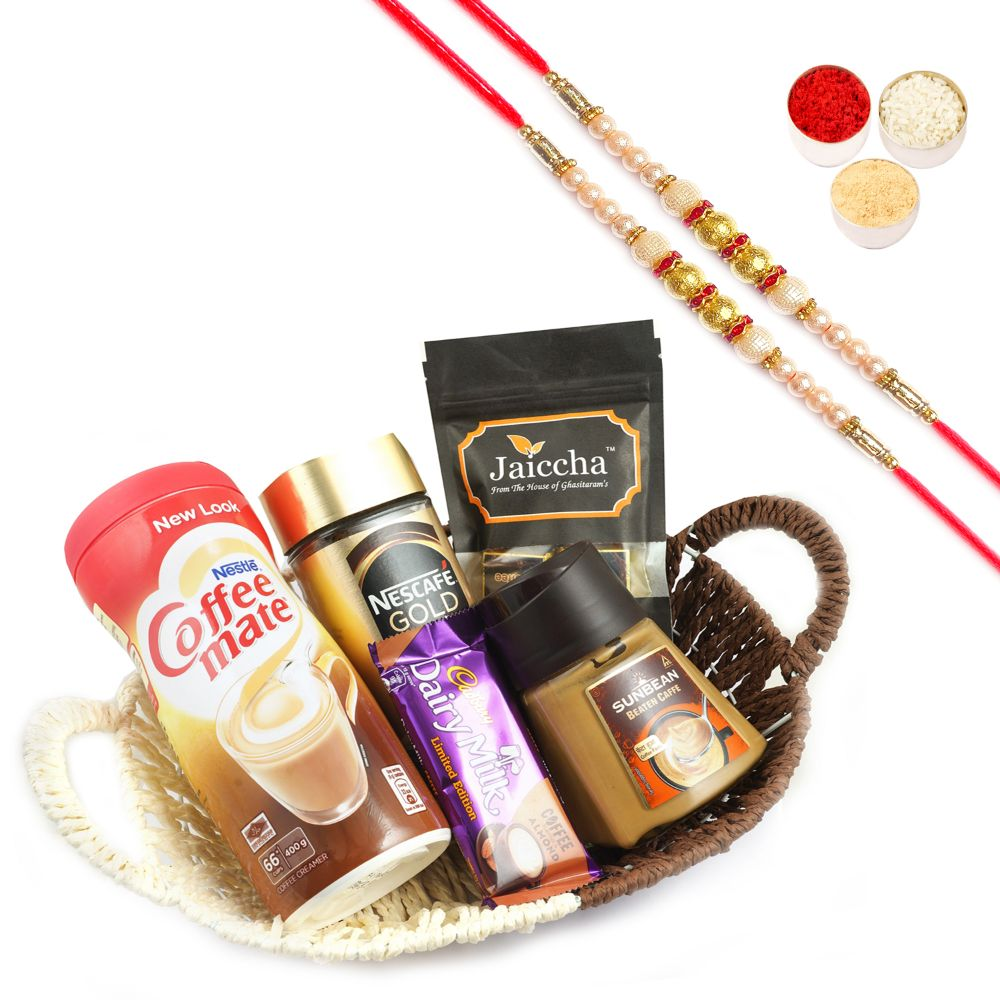 Basket For Coffee Lovers with 2 Pearl Rakhis