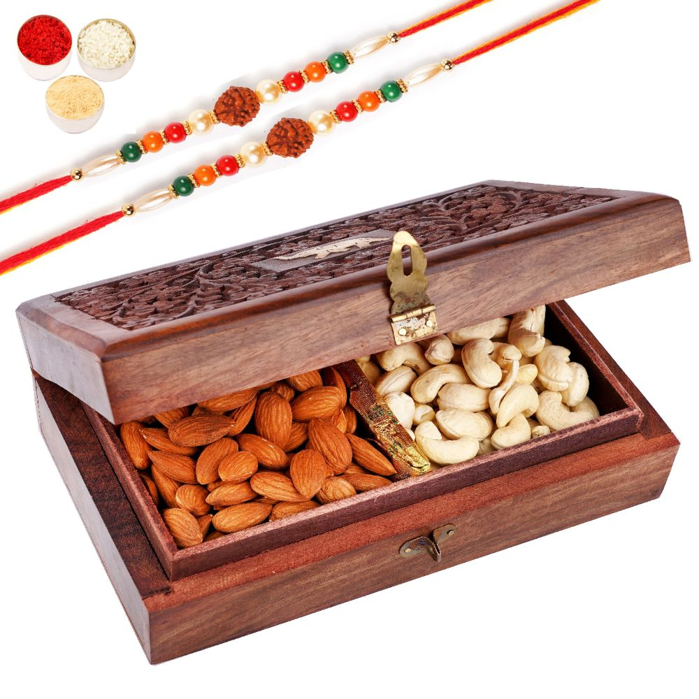 Wooden Carving Jewellery Box with Almonds and Cashews with 2 Rudraksh Rakhis