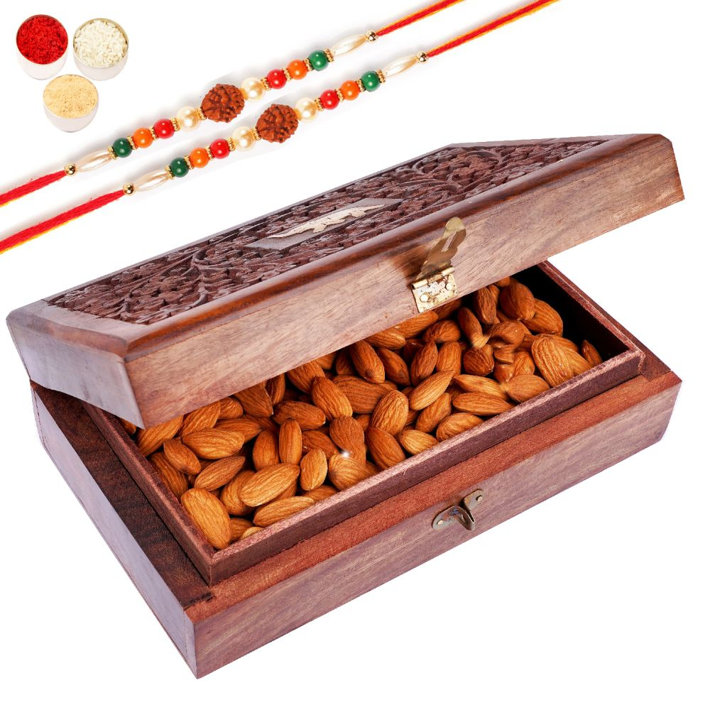 Wooden Craving Jewellery Box with Almonds with 2 Rudraksh Rakhis