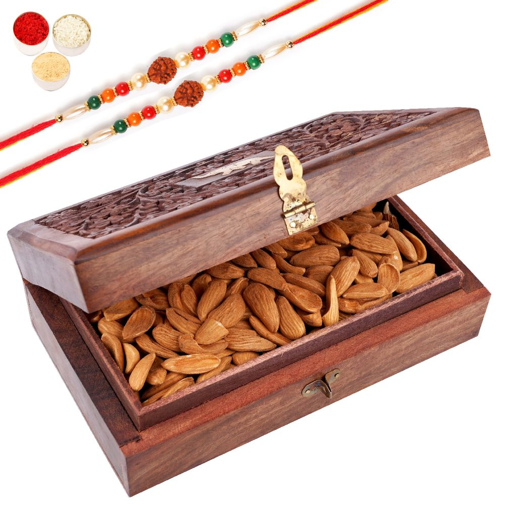 Wooden Craving Jewellery Box with Mamra Almonds with 2 Rudraksh Rakhis