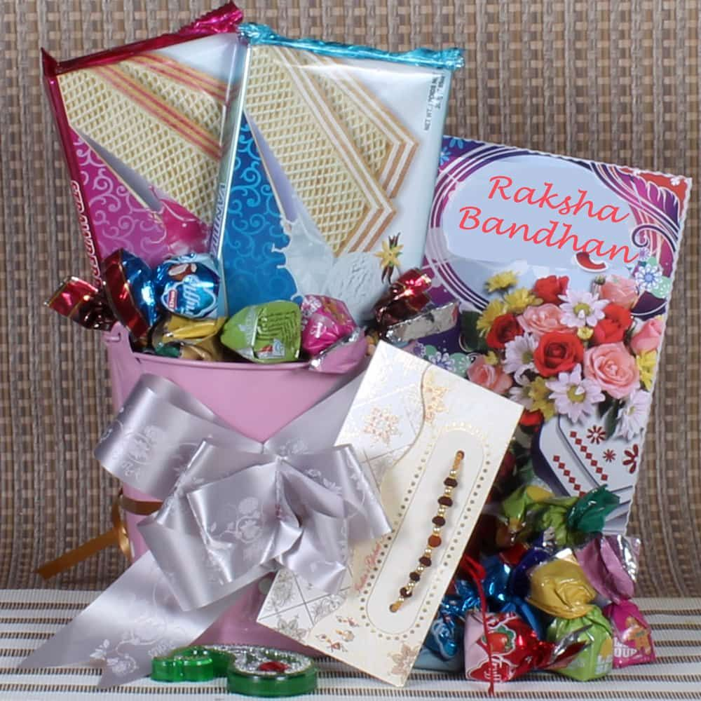 Rakhi Hamper of Wafers Biscuit and Truffle Chocolates