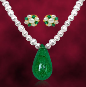Pearl Sets-Green Onyx & Freshwater Pearl Set