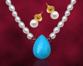 Pearl Sets-Badam Shape Turquoise & Ruby Pearl Set
