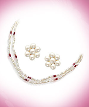 Pearl Sets-Red Garnet & Freshwater Pearl Set