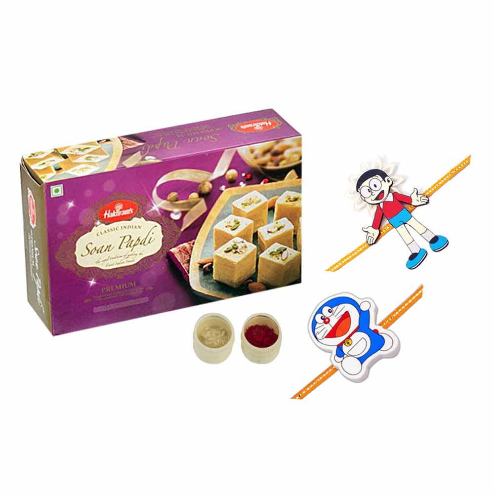 Rakhi Hampers-Soan Papdi n set of 2 kids rakhis