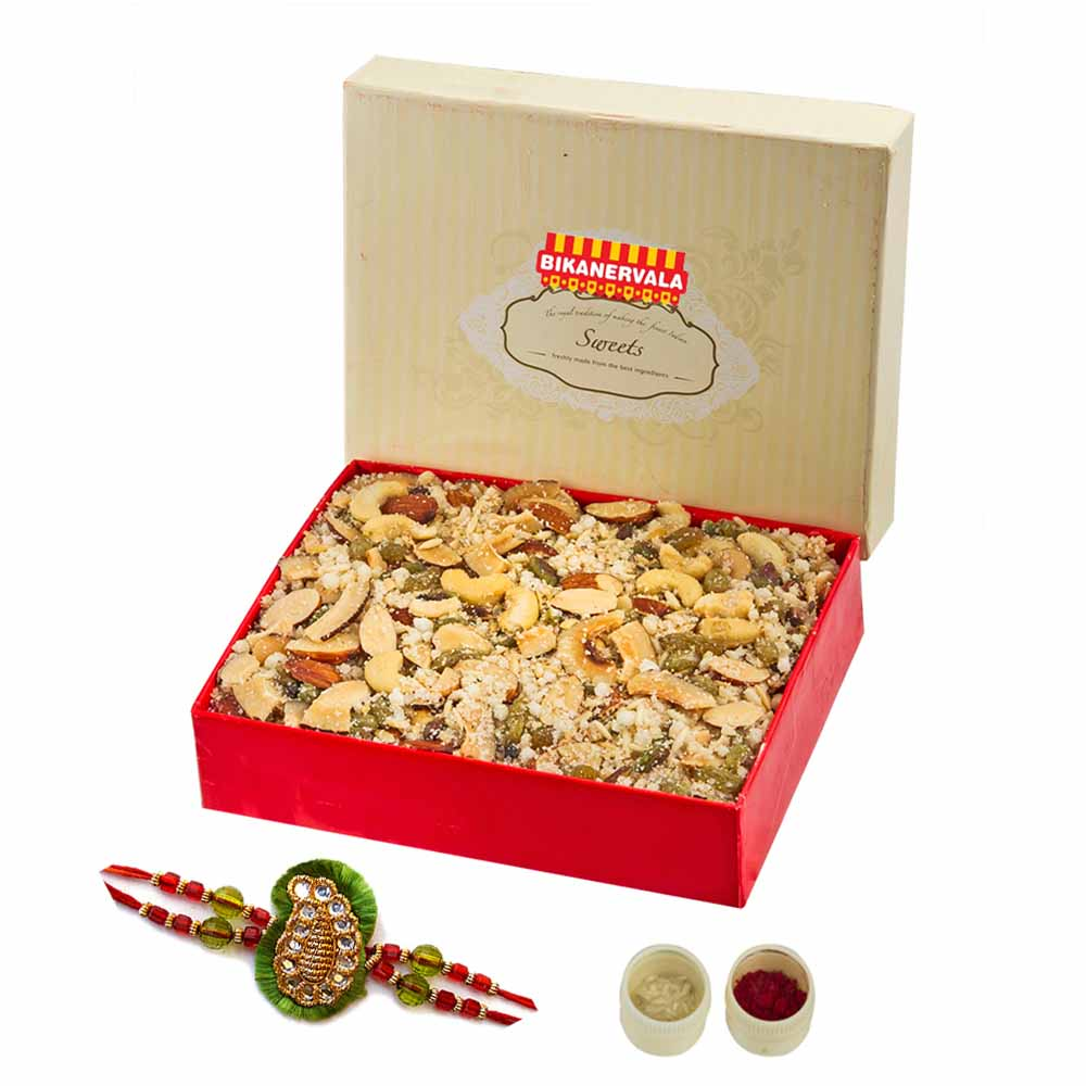 Rakhi Hampers-Dry fruit panjeeri & Rakhi