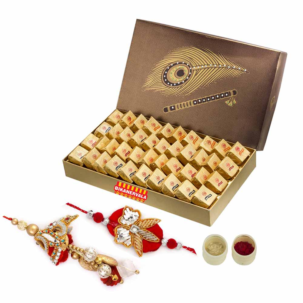 Rakhi Hampers-Assorted mewa bite n Rakhi Loomba Set