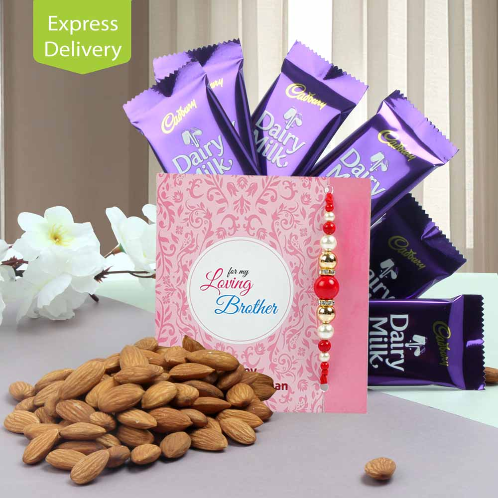 Rakhi Flower Hampers-Almond & Chocolate Potli