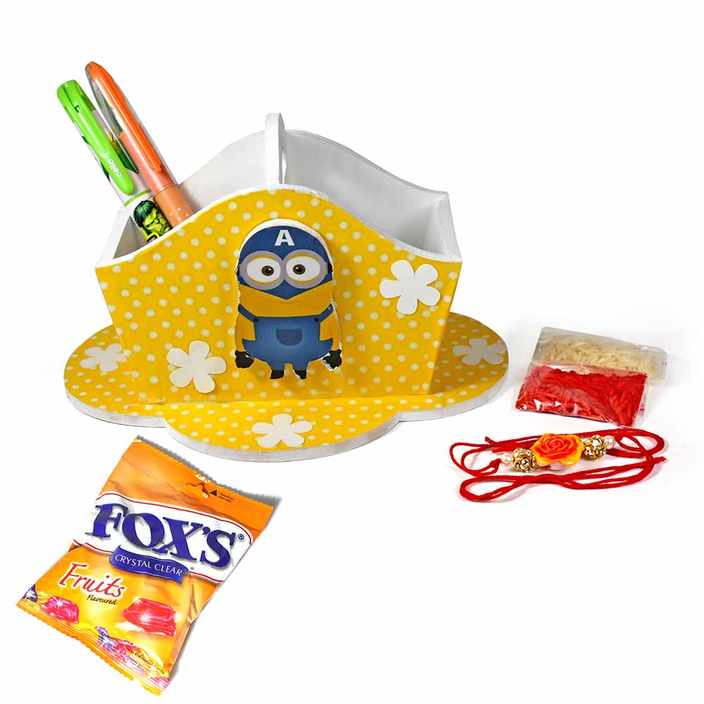 Bob The Minion Yellow Stationary Organiser Medium Best Rakhi Gift For Brother And