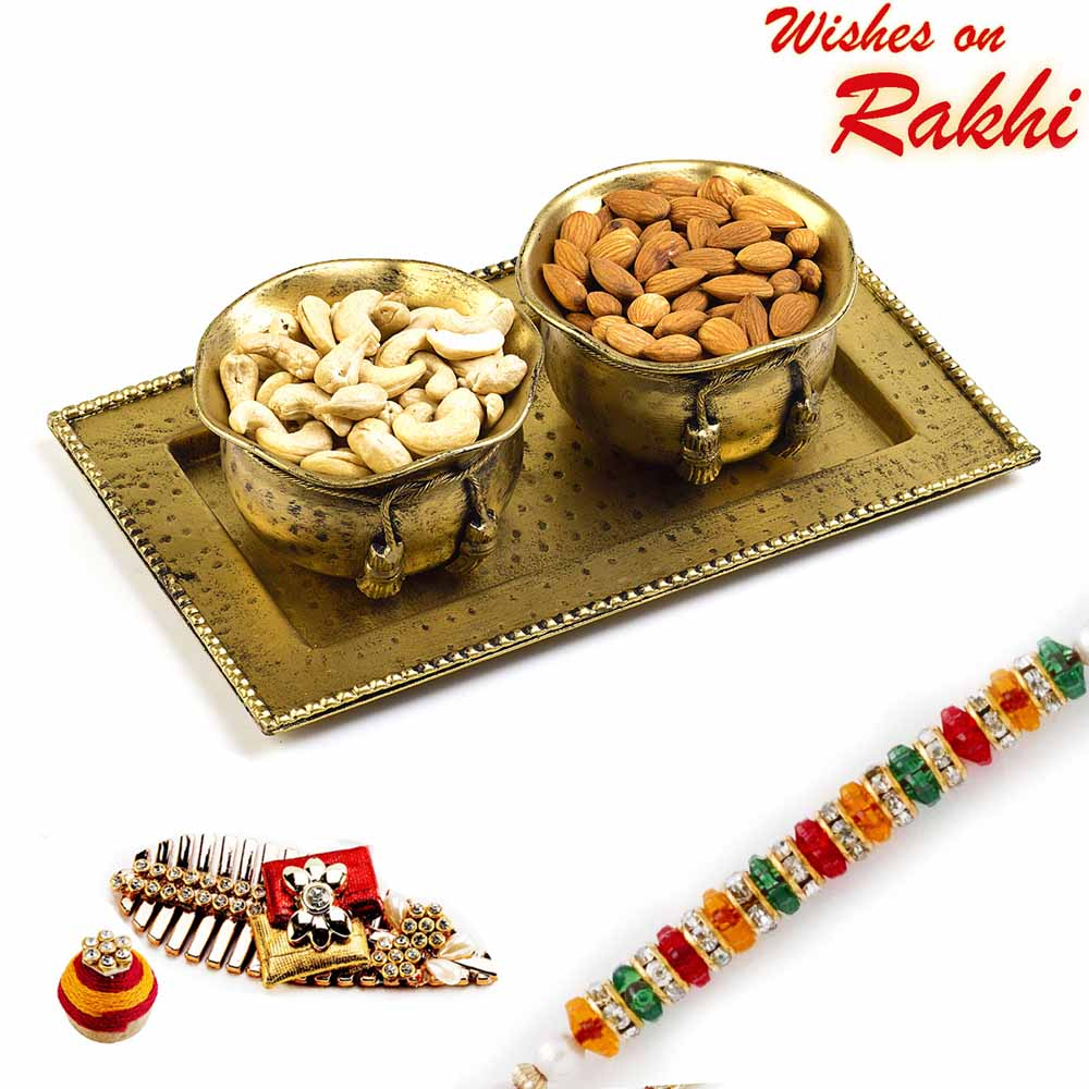 Rakhi Hampers-Brass Finish Dry fruit Bowl Set with Rakhi Hamper