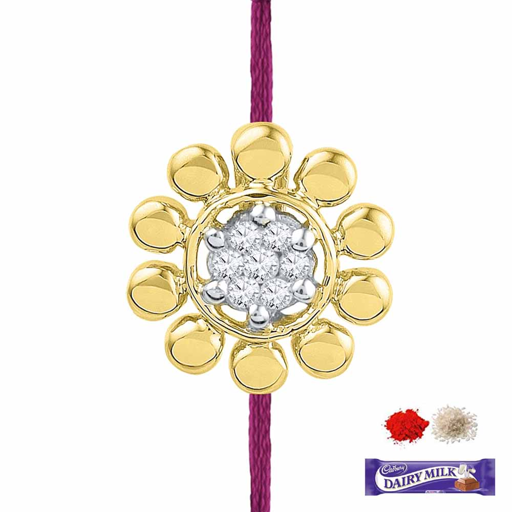 Royal Rakhi Collection-FLOWER DIAMOND RAKHI CUM PENDANT
