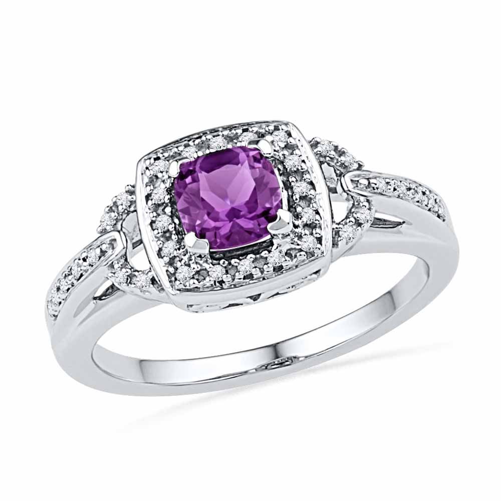 Precious-AMETHYST & DIAMOND FINGER RING