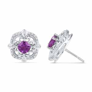 Precious-Amethyst With Sterling Silver Diamond Earrings