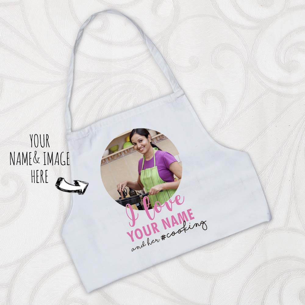 Rakhi Hampers-Name and Image Printed Personalized Apron for Sister