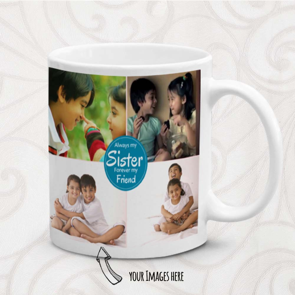 Rakhi Hampers-Multiple Images and Text Printed Personalized Mug for Sister